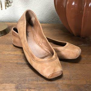 Lucky Brand Tan Nubuck Leather Ballet Flats